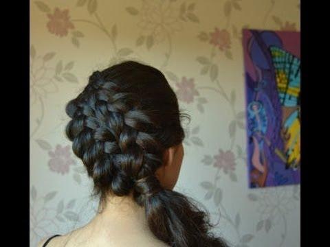 Двойное плетение косы на бок