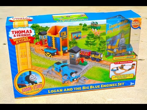 Thomas And Friends Logan And The Big Blue Engines Set - Wooden Railway Toy Train Review video