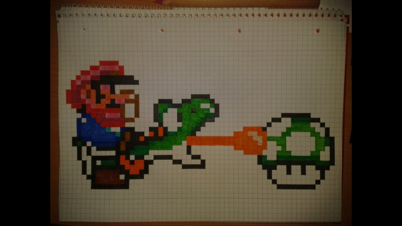 how to  draw pixel small mario and a green yoshi collect 1