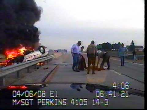 Illinois State Trooper rescues man from burning car Music Videos