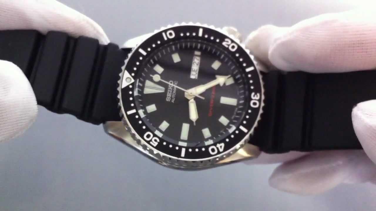 Men S Black Seiko Automatic Diver S Watch Skx173 Youtube