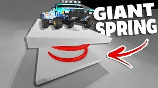 GIANT SPRING SENDS CARS TO SPACE! - BeamNG Drive Giant Spring Mod