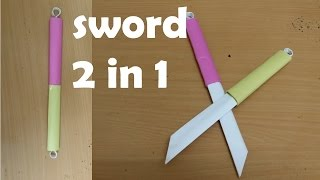 How to make a Double Paper Sword - (Two in One ) - Mini Weapon (crazyPT