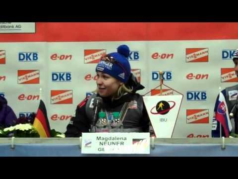 Magdalena Neuner, Kaisa Makarainen, and Anastasiya Kuzmina