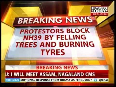 NH- 39 blocked by protesters by felling trees & burning tyres