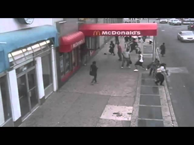 MCDONALD'S SHOOTING: Shocking scenes as man is gunned down in Brooklyn