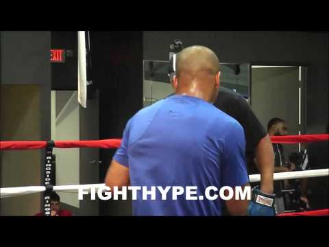 ANDRE WARD WORKS THE MITTS WITH VIRGIL HUNTER AT 50 CENTS GYM