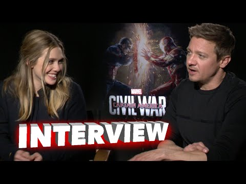 "Captain America: Civil War: Elizabeth Olsen "" Scarlet Witch"" & Jeremy Renner ""Hawkeye"" Interview"