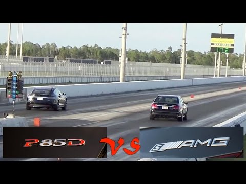 Tesla Model S P85D vs Mercedes-Benz E63s AMG Drag Racing 1/4 Mile