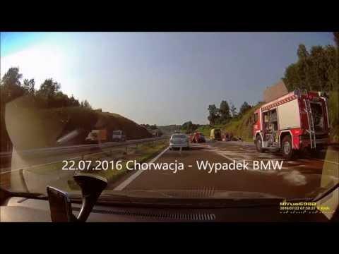 Wypadek BMW Chorwacja Autostrada 22.07.2016 Rejestracja UN-DW-509 PL