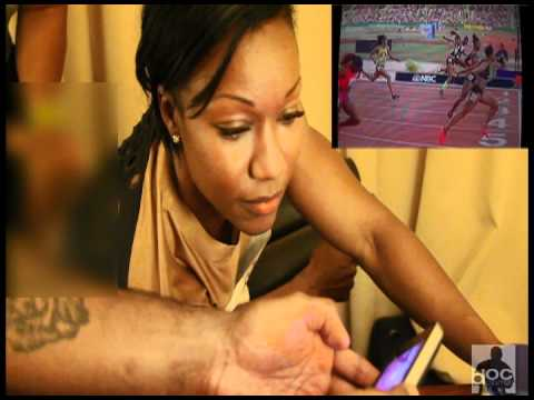 Carmelita Jeter (Behind the scenes at 2012 US Olympic Trials)