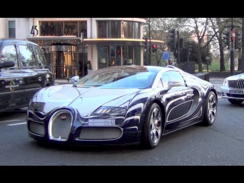 Bugatti Veyron L'Or Blanc on the road in London - Engine sound and Cruising