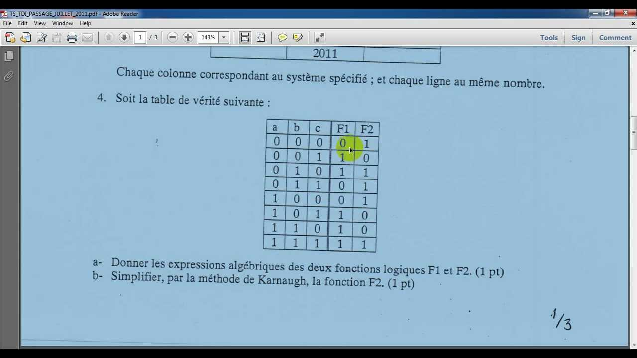Fonction algebrique a paritit d 39 un tableau de verit youtube for Tableau de verite