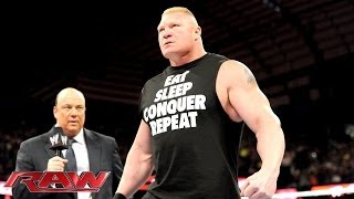 Paul Heyman says Brock Lesnar will end The Undertaker's Streak at WrestleMania: Raw, March 3, 2014