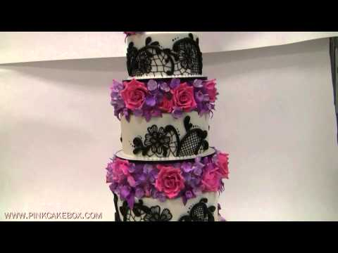 5 Tier Flower and Lace Wedding Cake