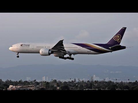 Thai Airways Boeing 777-300ER [HS-TKR] Landing at LAX.