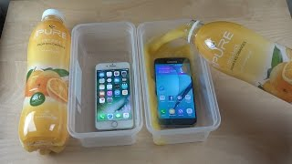 iPhone 7 vs. Samsung Galaxy S7 Juice Oranges Freeze Test 19 Hours! Who Is Best?!