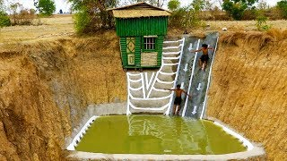 Dig Cliff To Build Two -  Story Bamboo House  And  Build Swimming Pool & Water Slide (full video)