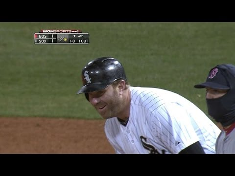 Peavy playfully attempts to pick off Dunn