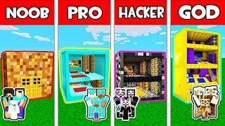 Minecraft - NOOB vs PRO vs HACKER vs GOD : FAMILY BLOCK BASE in Minecraft Animation