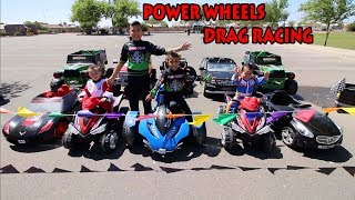 POWER WHEELS DRAG RACING | RIDE-ON CAR COLLECTION | DEION'S PLAYTIME