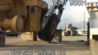 Solid tires for a CAT 988H Loader