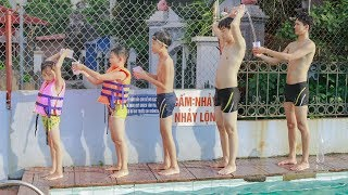 Kids go to Swimming Pool Competition Move Water | Kids Playing With Slide, Swing Playground