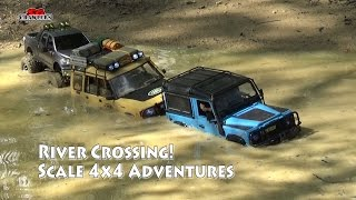River Crossing Scale Trucks Offroad Adventures RC Toyota Hilux Land Rover Defender SCX10 RC4WD