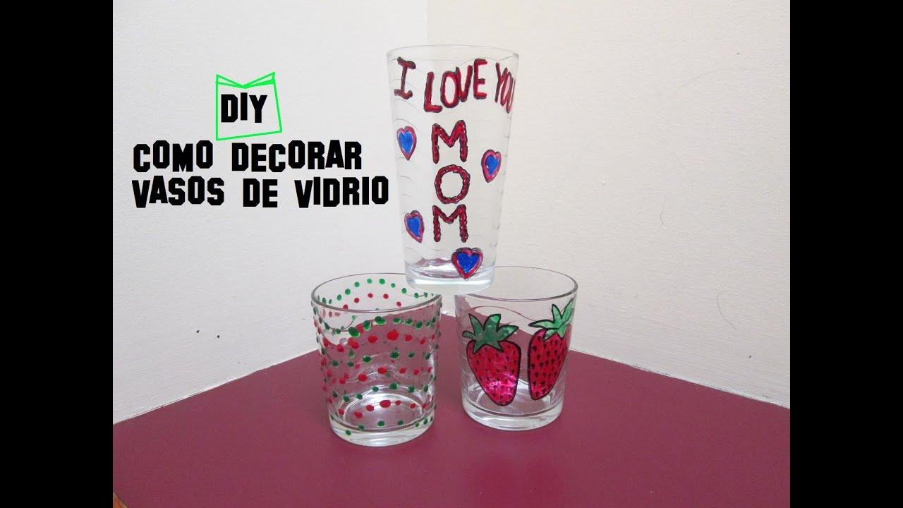 Diy como decorar vasos de vidrio para el dia de las madres - Como decorar un cristal de mesa ...