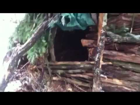 Winter hike and survival shelter
