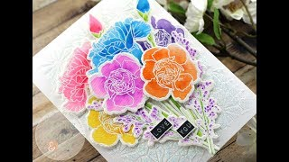 WaffleFlower Rainbow Carnations Card