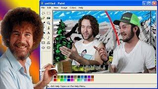 following a bob ross tutorial in ms paint