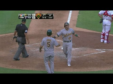 OAK@TEX: Cespedes' double gives the A's a 5-0 lead