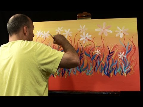 How to paint abstract flowers live art painting by raeart for How to abstract paint