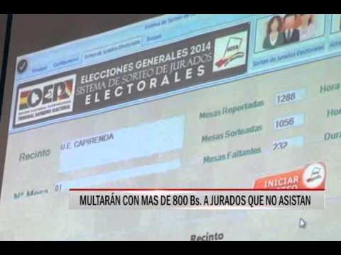 02/03/2015-19:34MULTARAN CON MAS DE 800 Bs A JURADOS QUE NO ASISTAN