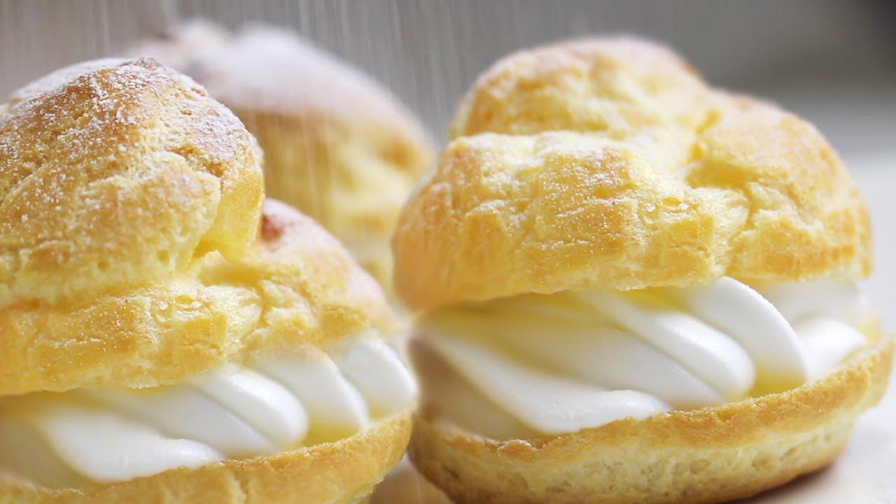 Easy Cream Puffs Recipe 베이비슈 슈크림 만들기 슈크림빵 ...