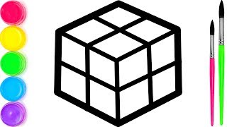 Rubik's Cube coloring and drawing for Kids, Toddlers Кис Кис