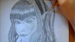 Drawing Gothic Girl (Dark Elf)