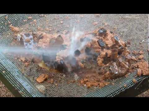 Washing the Clay off a Giant Museum Cluster - Huge Arkansas Quartz Crystal Cleaning - Mining Video