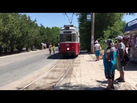 Трамвай в Евпатории серии Gotha T57. Евпатория 2016 Крым. Трамвай в Крыму Евпатории Евпаторийский