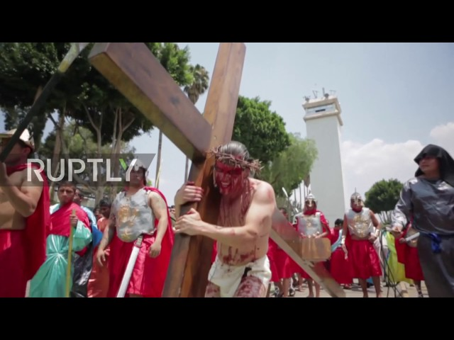 Mexico: The passion in the prison - inmates re-enact the crucifixion in Easter celebrations