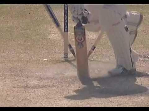 Pakistan v England 1st Test Multan 2005 - Shoaib yorks Ashley Giles with a ferocious yorker.
