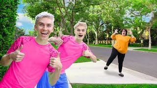 UNDERCOVER as TWIN BROTHERS for 24 HOURS to PRANK MYSTERY NEIGHBOR!!!