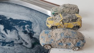 toy cars wash for kids:  Cars is dirty with sand
