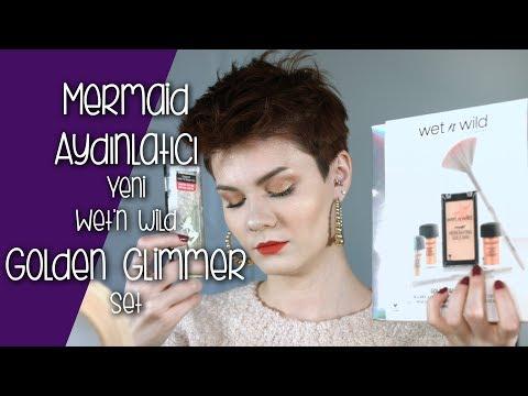 YENİ Wet'n Wild Golden Glimmer Set ve Mermaid Aydınlatıcı Denemesi   Gerçekten Almaya Değer Mi?