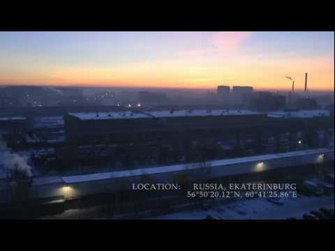 Russia: dark winter sunrise HD