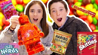 MIXING EVERY CANDY INTO ONE GIANT LEGO!!