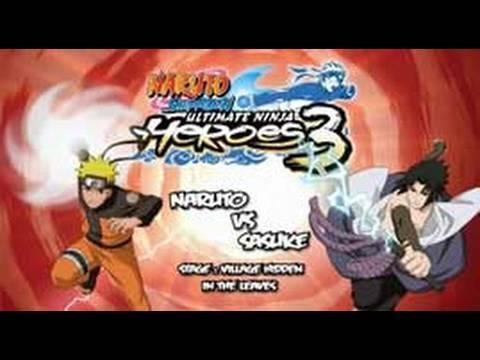 Naruto Shippuden Ultimate Ninja Heroes 3 - PSP - Gameplay Naruto Vs Sasuke
