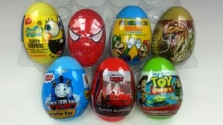 7 Plastic Surprise Eggs Unboxing Cars 2 Thomas Spongebob Toy Story
