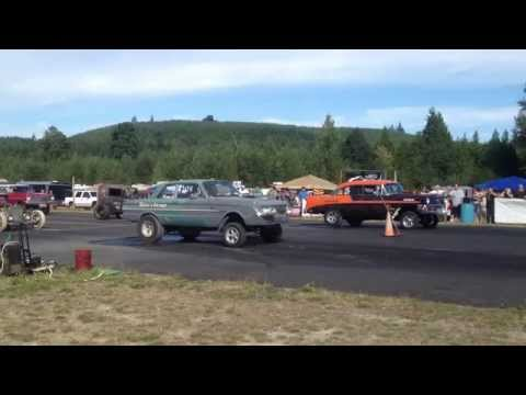 56' CHEVY VS. FORD FALCON BILLETPROOF ERUPTION DRAGS TOUTLE, WA 2013